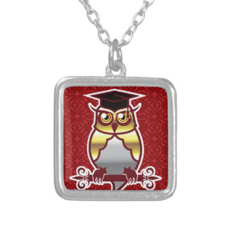 Golden Owl on Royal Background Silver Plated Necklace