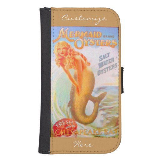 golden oyster mermaids wallet case