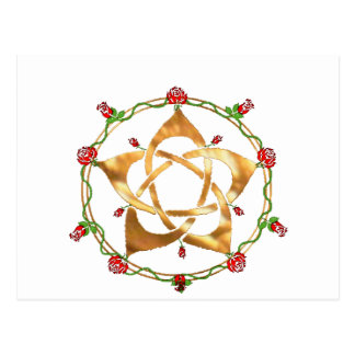 Golden Pagan Goddess Pentacle Postcard