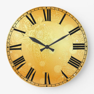 Golden Paisley Round (Large) Wall Clock