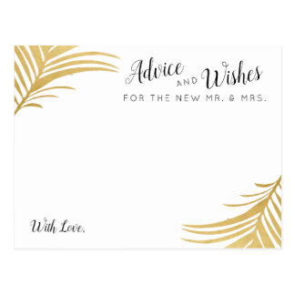 Golden Palm Beach Wedding Guest Advice and Wishes Postcard