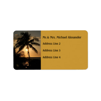 Golden Palm Tree Sunset Address Label