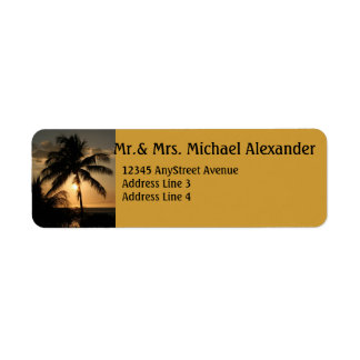 Golden Palm Tree Sunset Return Address Label