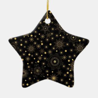 Golden Pattern Ceramic Star Ornament
