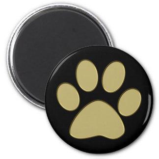 golden paw 6 cm round magnet