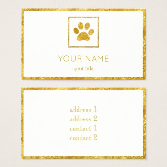 golden paw print pet business card