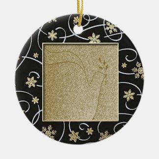 Golden Peace Dove Round Ceramic Decoration