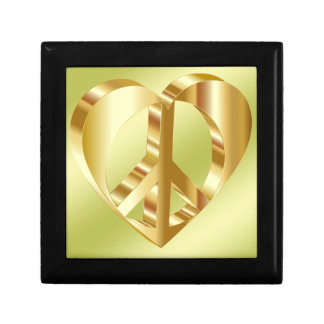 Golden peace symbol gift box