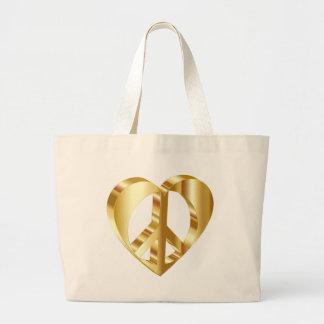Golden peace symbol large tote bag