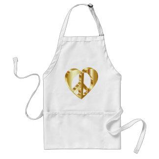 Golden peace symbol standard apron