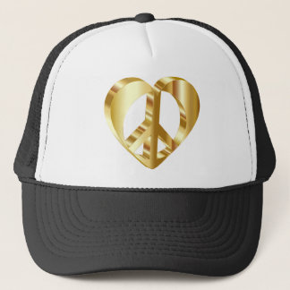 Golden peace symbol trucker hat