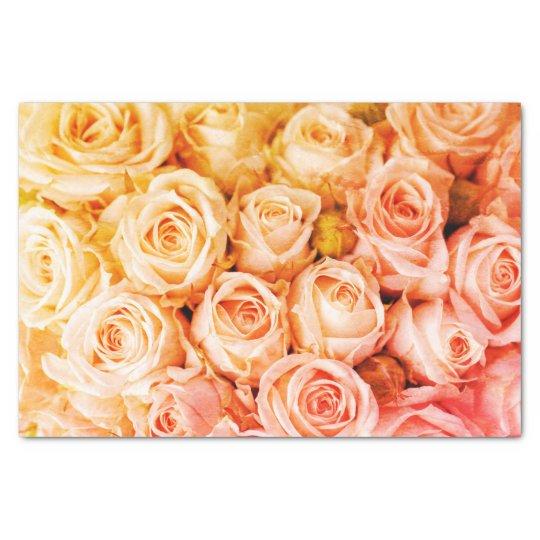 Golden Peach Roses Tissue Paper