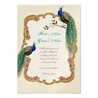 Golden Peacock & Calligraphy Swirls Invitation