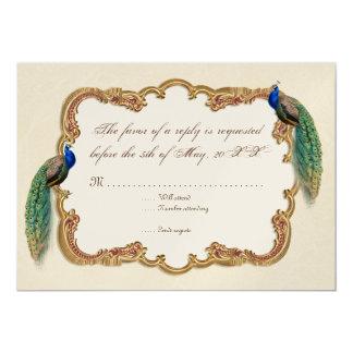 Golden Peacock & Calligraphy Swirls RSVP response 13 Cm X 18 Cm Invitation Card