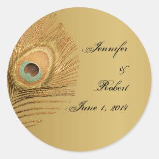 Golden Peacock Envelope Seal Round Sticker
