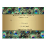 Golden Peacock Feather RSVP Reply
