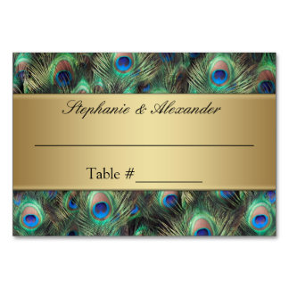 Golden Peacock Feather Table Place Name Cards Table Card