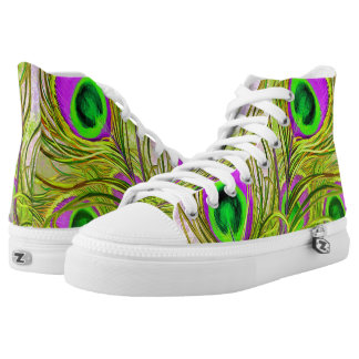 Golden Peacock Feathers High Top Shoes