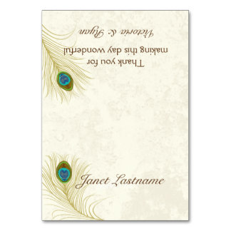 Golden Peacock Feathers Seating Card Table Cards