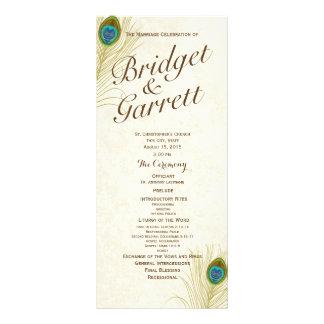 Golden Peacock Feathers Wedding Program Rack Card