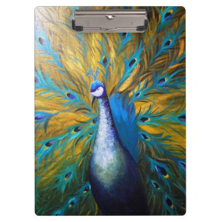 Golden Peacock ! (Kimberly Turnbull Art - Acrylic) Clipboard