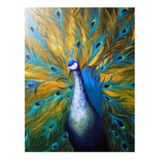 Golden Peacock ! (Kimberly Turnbull Art - Acrylic) Postcard