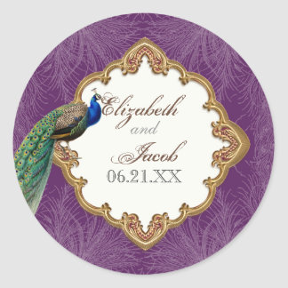 Golden Peacock & Swirls - Wedding Sticker or Seal