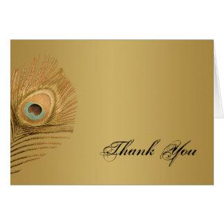 Golden Peacock Thank You Card