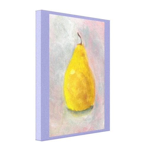 Golden Pear Still Life Watercolor Canvas Print