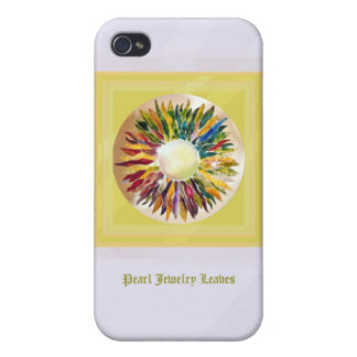 Golden Pearl Leaves Stylish iPhone 4 Case