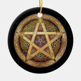 Golden Pentacle Pendant/Ornament Round Ceramic Decoration