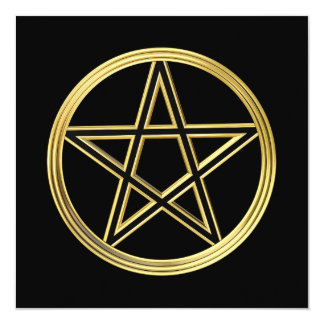 Golden pentagram 13 cm x 13 cm square invitation card