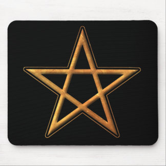 Golden Pentagram - Gold Pentagram Pagan Symbol Mouse Pad