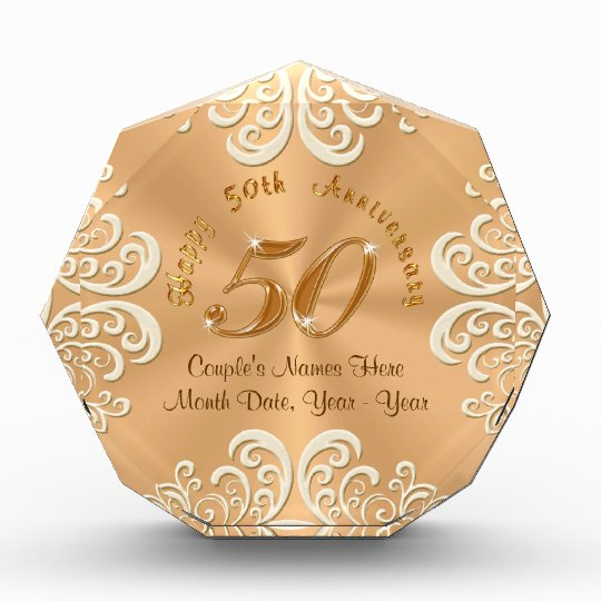 Golden Wedding Gift Ideas Uk: Golden Personalised Happy 50th Anniversary Gifts