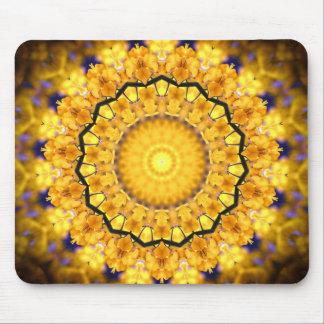 Golden Petal Mandala Kaleidoscope pattern Mousepads