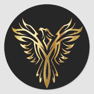 Golden Phoenix Classic Round Sticker