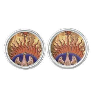 Golden Phoenix Rising From the Ashes Cufflinks