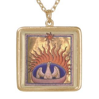 Golden Phoenix Rising From the Ashes Square Pendant Necklace