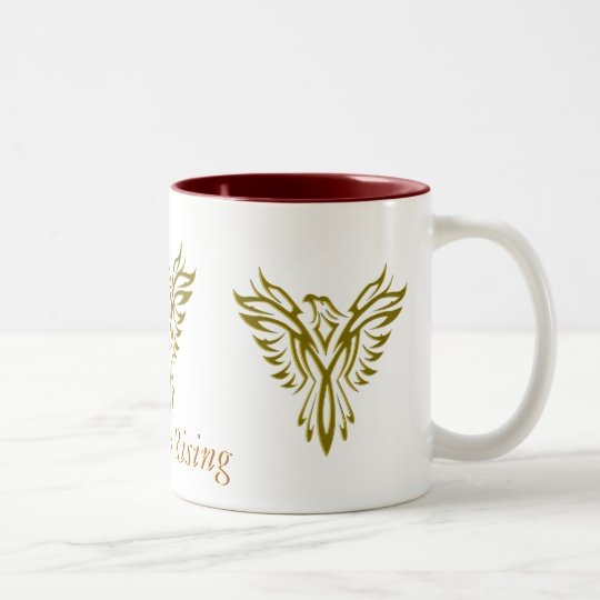 Golden Phoenix Rising two tone mug