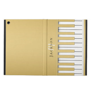 Golden Piano Keys Monogram iPad Case