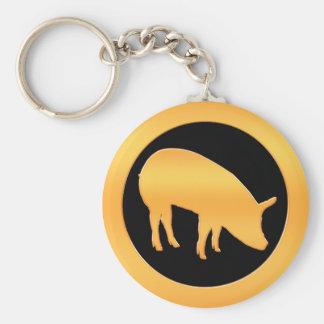 Golden Pig Basic Round Button Key Ring