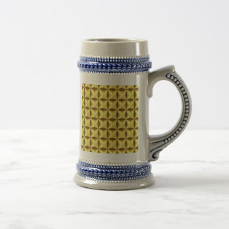 Golden Pillowed Squares on Brown Beer Steins