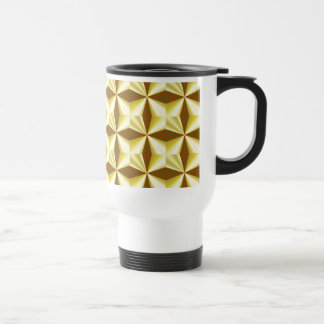 Golden Pillowed Squares on Brown Stainless Steel Travel Mug