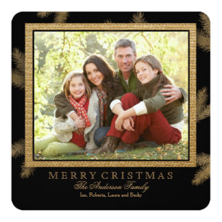 Golden Pine Holiday Photo Card 13 Cm X 13 Cm Square Invitation Card