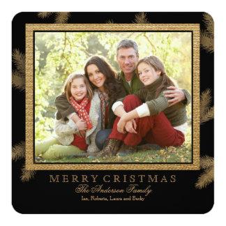 Golden Pine Holiday Photo Card 13 Cm X 13 Cm Square Invitation Card