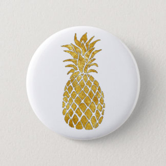 golden pineapple 6 cm round badge