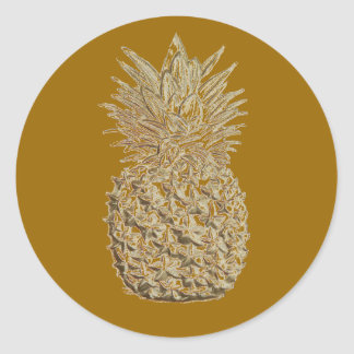 Golden Pineapple Classic Round Sticker