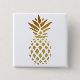 Golden Pineapple, Fruit in Gold 15 Cm Square Badge