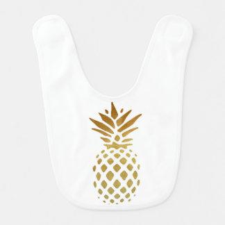 Golden Pineapple, Fruit in Gold Baby Bibs