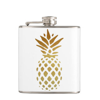 Golden Pineapple, Fruit in Gold Hip Flask